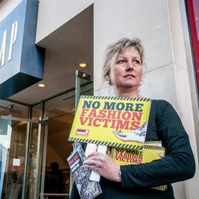 Protesters holding placards saying 'No More Fashion Victims' outside the Gap clothing store in Exeter to highlight Gap's refusal to sign the Saftey Accordthat would improve conditions for garment factory workers. Photo: (C) Clive_Chilvers