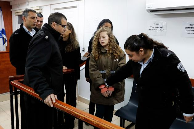 Sixteen-year-old Ahed Tamimi arrives for a hearing at Ofer military court. Photo: Photo: Ahmad Gharabli/AFP