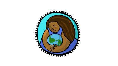 COP25 People's Summit logo – a brown woman with long brown hair embraces the planet.
